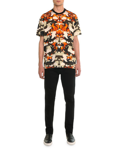 Columbian Camo-Print Tee & Slim Denim Pants with Leather Back-Pocket
