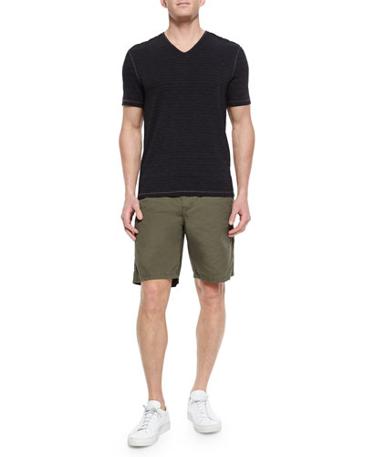 Slub-Knit V-Neck Tee & Triple-Needle Cotton Shorts