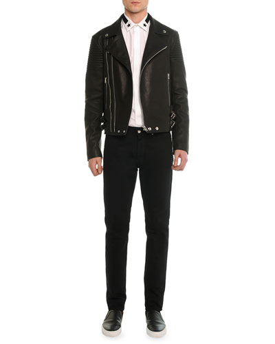 Asymmetric Leather Moto Jacket, Star & Stripe Collar Button-Down Shirt & Slim Denim Pants