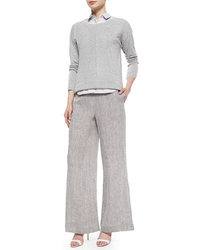 Multi-Gauge Melange Sweater, Elizabeth Sleeveless Striped Shirt & Drawstring Linen Pants