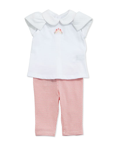 Bird Embroidered Top and Logo Leggings, White/Orange, Size 3-24 Months