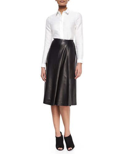 Dash-Pattern Fil Coupe Blouse & Lather Paneled Midi Skirt