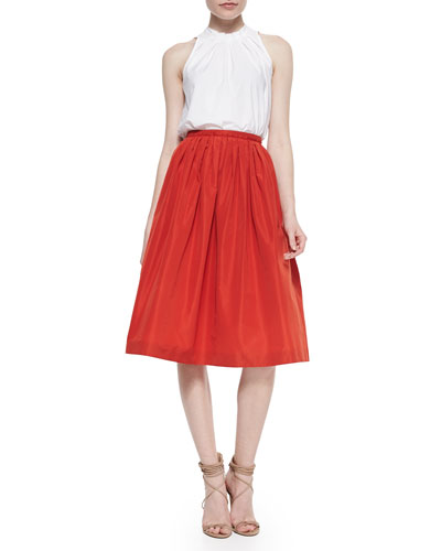 Tuck-Pleated Stand-Collar Blouse & Pleated Taffeta Full Skirt