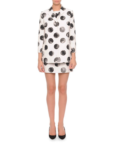 Sleeveless Painted Polka Dot Top & Painted Polka Dot A-Line Skirt, White/Black