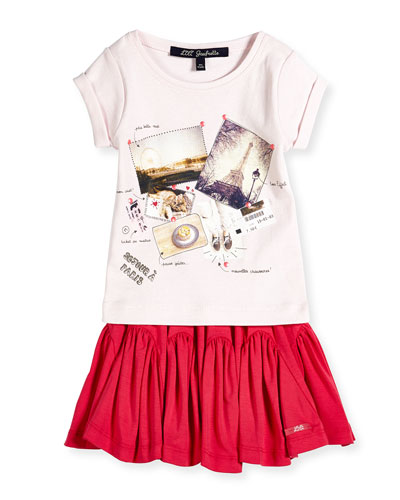 Parisian-Print Jersey Tee & Sectional A-Line Jersey Skirt