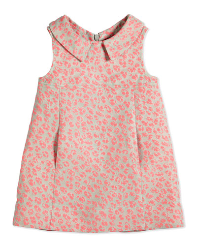 Sleeveless Animal Jacquard Poplin Dress, Pink