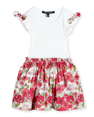 Floral-Print Contrast Dress w/ Ribbed Top, White