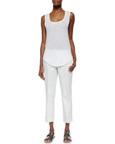 Sweetheart Jersey Knit Tank Top & Cropped Flared Pinstripe Pants