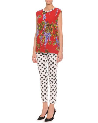Floral-Print Polka Dot Combo Top & Painted Polka Dot Skinny Jeans