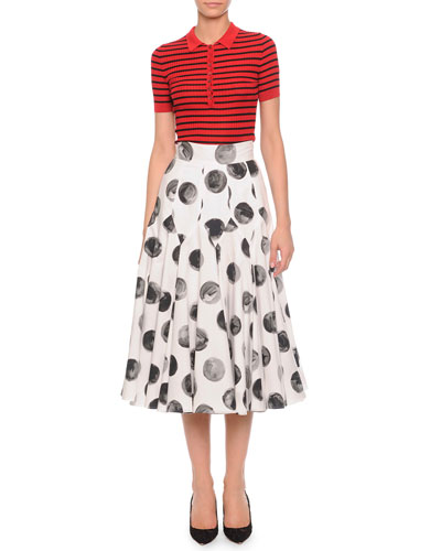 Striped Ribbed Polo Shirt & Painted Polka Dot Full Skirt