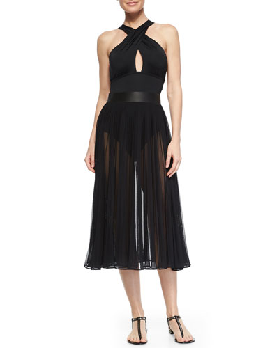 Twisted Halter One-Piece & Classic Pleated Chiffon Skirt