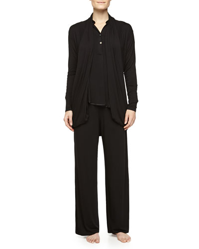 Lounge with Me Silk-Trimmed Long Wrap & Pajama Set, Black