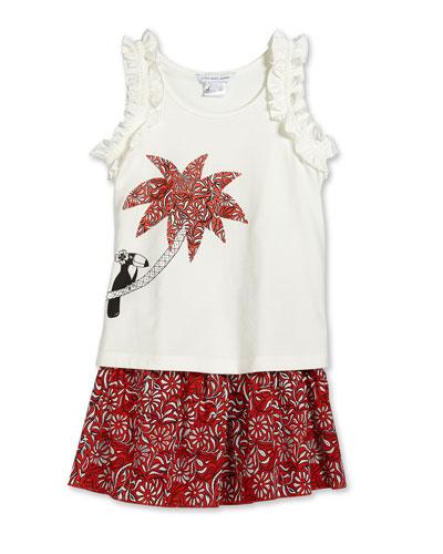 Palm Tree-Print Jersey Tank & Paisley-Print A-Line Skirt