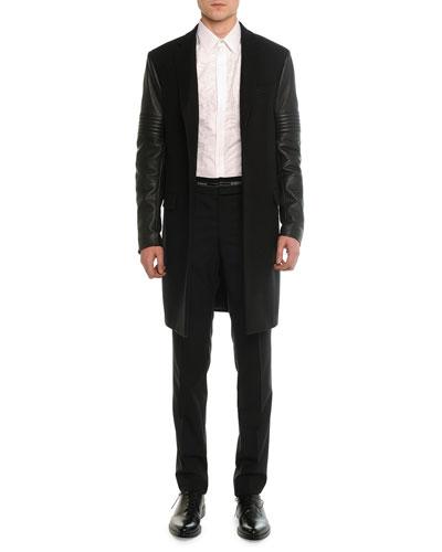 Leather Moto Sleeve Wool Overcoat, Lace-Front Poplin Shirt & Logo-Waist Wool Trousers
