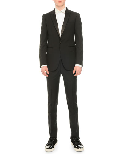 Satin-Lapel Tuxedo Jacket, Tuxedo Shirt with Pleated Bib & Attitude Wool Trousers