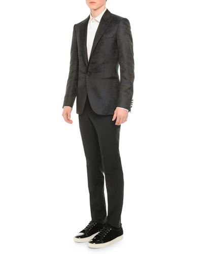 Coated One-Button Evening Jacket, Tuxedo Shirt with Pleated Bib & Attitude Wool Trousers