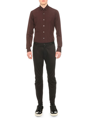 Long-Sleeve Woven Sport Shirt & Stretch-Knit Cotton Biker Pants