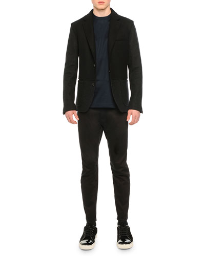 Two-Button Wool Jacket, Knit Asymmetric Seam T-Shirt & Stretch-Knit Cotton Biker Pants