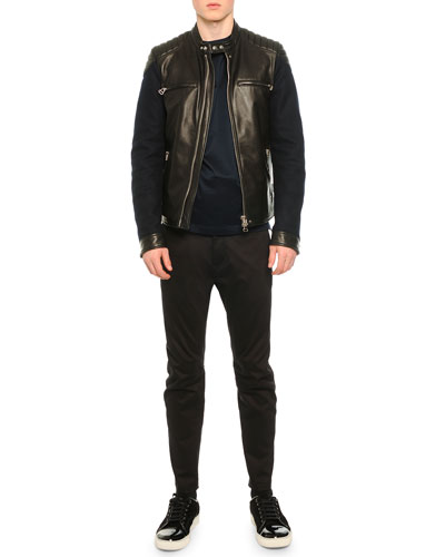 Leather Contrast-Sleeve Moto-Style Jacket, Knit Asymmetric Seam T-Shirt & Stretch-Knit Cotton Biker Pants