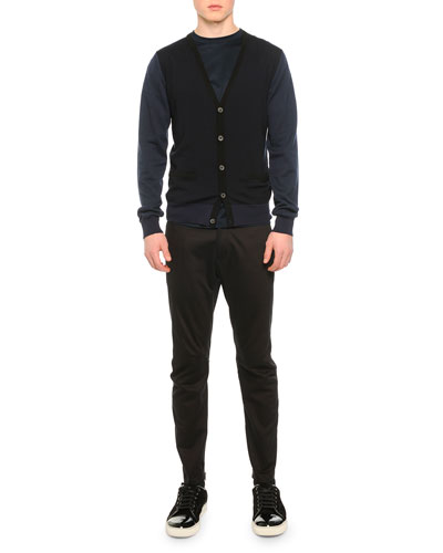 Wool V-Neck Two-Pocket Cardigan, Knit Asymmetric Seam T-Shirt & Stretch-Knit Cotton Biker Pants