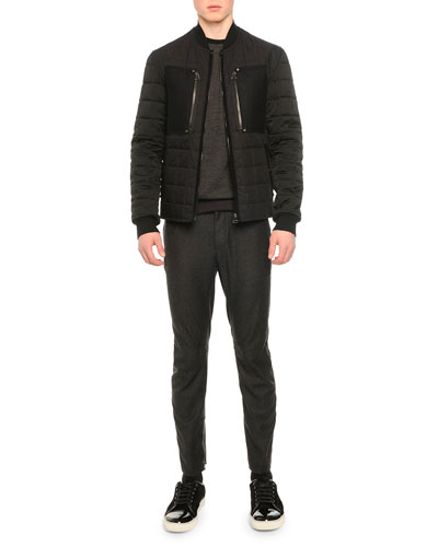 Quilted Baseball Collar Zip Jacket, Crewneck Colorblock Sweater & Woven Flannel Moto-Style Pants