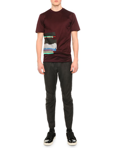 Digital Stripe Graphic T-Shirt & Woven Flannel Moto-Style Pants
