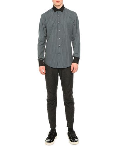 Micro-Check Poplin Shirt & Woven Flannel Moto-Style Pants