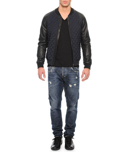 Quilted Leather Bomber Jacket, Basic V-Neck Tee & Medium-Wash Distressed Denim Jeans