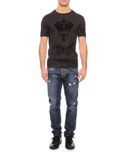 Tonal Crown/Bee-Print Crewneck Tee & Medium-Wash Distressed Denim Jeans