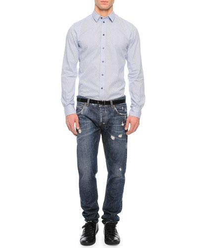 Gingham/Cross-Print Sport Shirt & Medium-Wash Distressed Denim Jeans