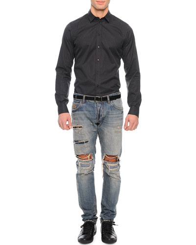 Small Flower-Print Sport Shirt & Medium-Wash Distressed Denim Jeans