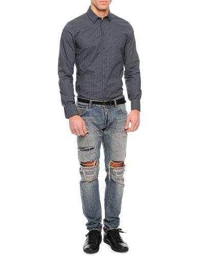 Small Dots Long-Sleeve Sport Shirt & Super Destroyed Light Wash Denim Jeans