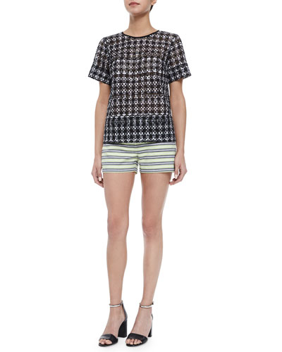 Short-Sleeve Eyelet Structured Top & Striped Mini Shorts