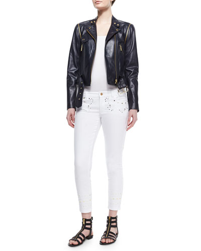 Belted Moto Leather Jacket & Embroidered Skinny Ankle Jeans