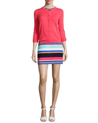 somerset bow-cuff cardigan & tropical stripe mariam sheath dress