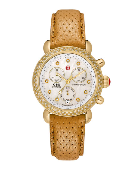 MICHELE 18mm Deco Diamond Watch Head, Gold