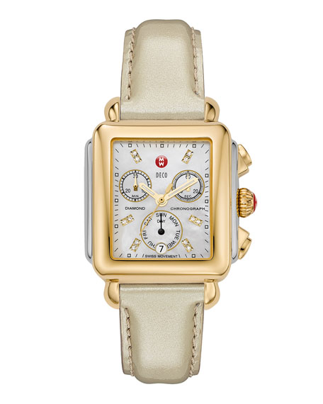 MICHELE 18mm Deco Gold, Diamond Dial Watch Head