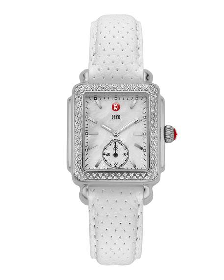 MICHELE 16mm Deco Diamond Watch Head, Steel