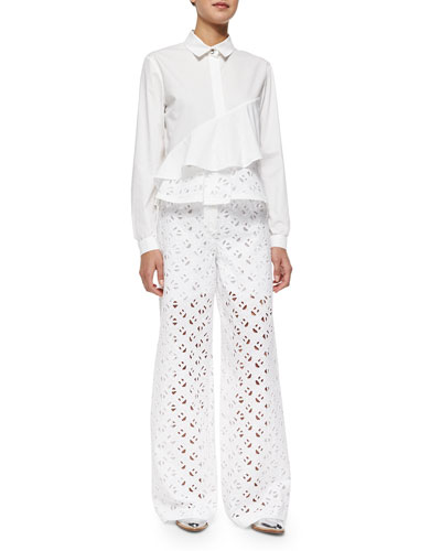 Flying Kenzo Ruffled Blouse W/ Eyelet Detail & Wide-Leg Eyelet Pants