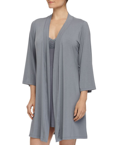 Talco Solid Short Robe & Never Say Never Racie Lace Babydoll, Petra Gray
