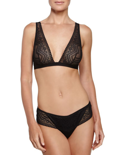 Vittoria Lace Soft Bra & Low-Rise Thong, Black