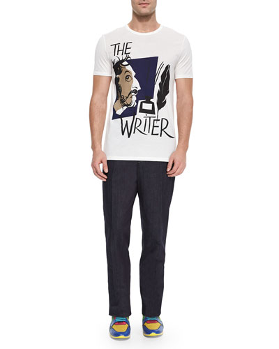 Writer-Print Knit Tee & Sartorial Stretch Trousers