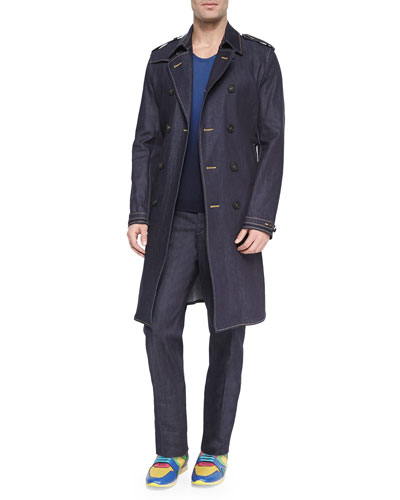 Heritage Denim Trenchcoat, Dip-Dye Woven Raglan-Sleeve Sweater & Sartorial Stretch Trousers