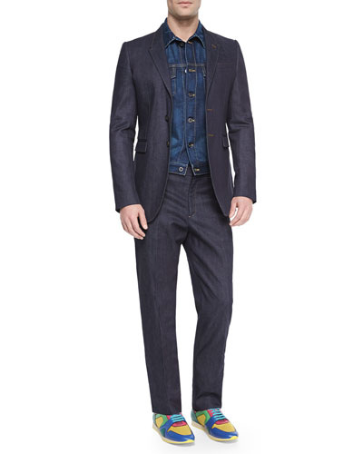 Woven Denim Jacket, Two-Button Stretch Denim Jacket & Sartorial Stretch Trousers