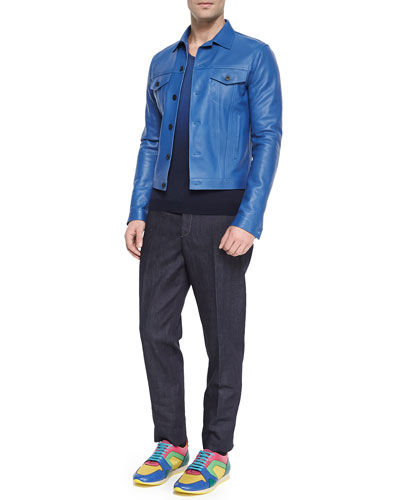Calf Leather Jacket, Dip-Dye Woven Raglan-Sleeve Sweater & Sartorial Stretch Trousers