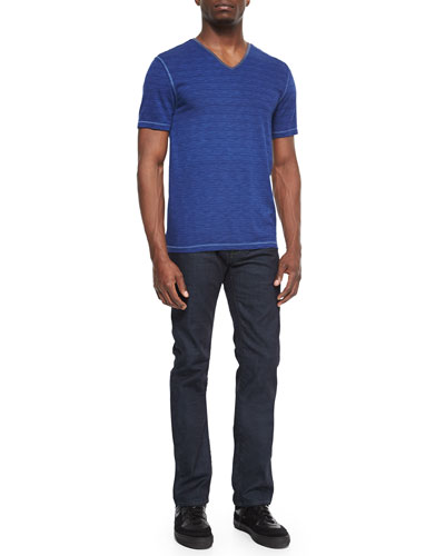 Slub Knit V-Neck Tee & Bowery Slim-Fit Denim Jeans