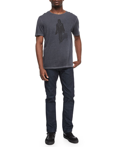 Skeleton-Graphic Knit Tee & Bowery Slim-Fit Denim Jeans