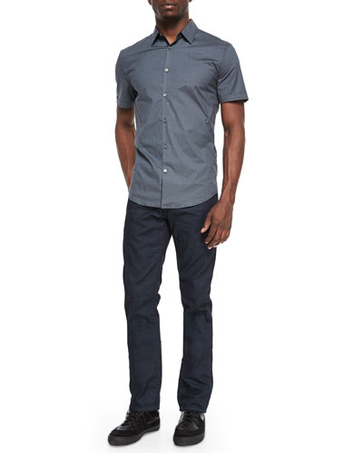 Micro-Check Cotton Shirt & Bowery Slim-Fit Denim Jeans