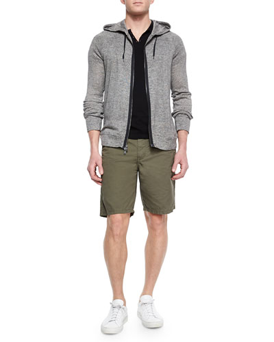 Striped Two-Way Zip Hoodie, Short-Sleeve Knit Henley T-Shirt & Triple-Needle Cotton Shorts