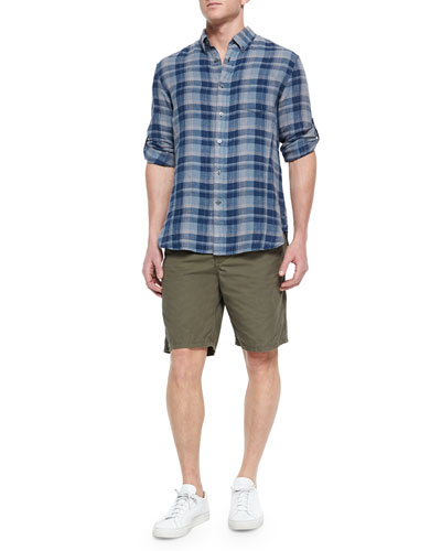 Roll-Tab Sleeve Plaid Shirt & Triple-Needle Cotton Shorts